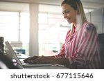 business woman working in... | Shutterstock . vector #677115646