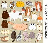 cute cats posing doodle set | Shutterstock .eps vector #677120818