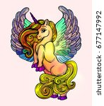 beautiful unicorn with wings... | Shutterstock .eps vector #677147992