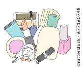 overspending and shopaholic... | Shutterstock .eps vector #677160748