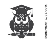 wisdom concept with owl in... | Shutterstock .eps vector #677170945