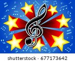musical clef on the background... | Shutterstock .eps vector #677173642