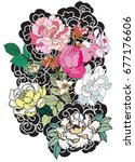 peony flower and rose tattoo on ... | Shutterstock .eps vector #677176606