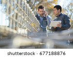 male architect and engineer on...   Shutterstock . vector #677188876