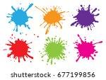 set of paint splatters.vector... | Shutterstock .eps vector #677199856
