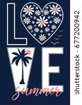 love summer slogan illustration ... | Shutterstock .eps vector #677200942