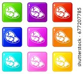 steak icons of 9 color set... | Shutterstock .eps vector #677207785