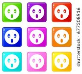 frightened emoticons of 9 color ...   Shutterstock .eps vector #677208916