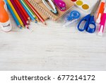 above view of school and office ... | Shutterstock . vector #677214172