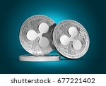 three silver ripple coins  xrp  ... | Shutterstock . vector #677221402
