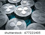 ripple coins  xrp  in blurry... | Shutterstock . vector #677221405
