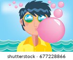 blowing balloons | Shutterstock .eps vector #677228866