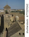 Small photo of Cordoba, Spain - October 1 2015: The tower and buildings in Alcazar of the Christian Monarchs.