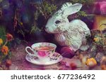 Small photo of Mad Tea Party. Adventures in Wonderland , white rabbit drink from cups under giant mushrooms. Design for Wonderland party invitation, wallpaper. Tales theme