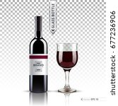 realistic glass of red wine and ... | Shutterstock .eps vector #677236906