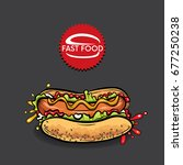 beautiful realistic hot dog.... | Shutterstock .eps vector #677250238