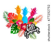 summer colorful hawaiian... | Shutterstock .eps vector #677252752