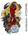 colorful phoenix fire bird with ... | Shutterstock .eps vector #677255458