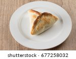 arabic esfiha. manakish over a... | Shutterstock . vector #677258032