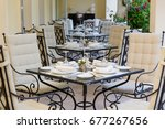 a few of the decorated tables... | Shutterstock . vector #677267656
