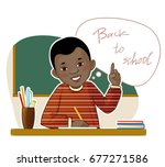happy small african american... | Shutterstock .eps vector #677271586