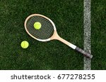 retro tennis racket on natural... | Shutterstock . vector #677278255