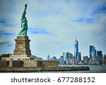 statue of liberty viewed from... | Shutterstock . vector #677288152