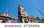 perspective of clock tower at... | Shutterstock . vector #677293906