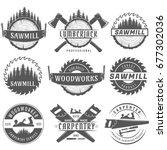 set of monochrome vector logos... | Shutterstock .eps vector #677302036