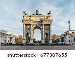l'arco della pace  the arch of... | Shutterstock . vector #677307655