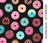 donut seamless pattern. pink ...   Shutterstock .eps vector #677308186