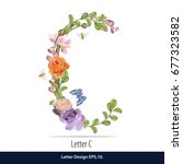 floral watercolor alphabet.... | Shutterstock .eps vector #677323582