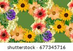 seamless vector floral pattern... | Shutterstock .eps vector #677345716