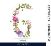 floral watercolor alphabet.... | Shutterstock .eps vector #677351896