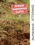 beware dangerous cliffs sign at ... | Shutterstock . vector #677354602