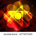 glowing geometric shapes  ... | Shutterstock . vector #677357365