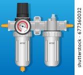 air regulator filter water trap ... | Shutterstock .eps vector #677360032