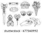 summer patch badges with bug... | Shutterstock .eps vector #677360992