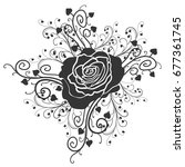 rose tattoo. silhouette of... | Shutterstock .eps vector #677361745