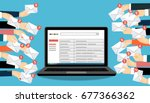 laptop with email and many... | Shutterstock .eps vector #677366362