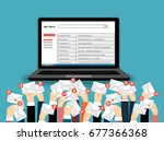 laptop with email and many...   Shutterstock .eps vector #677366368