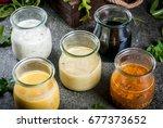 set of dressings for salad ...   Shutterstock . vector #677373652