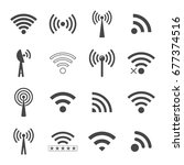 set of different black wifi... | Shutterstock . vector #677374516