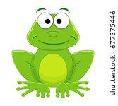 cute funny cartoon frog. vector ... | Shutterstock .eps vector #677375446
