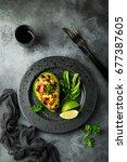avocado quinoa   black  bean ... | Shutterstock . vector #677387605