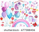 set of watercolor elements ... | Shutterstock . vector #677388406