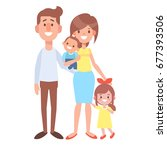 happy family portrait   mom ... | Shutterstock .eps vector #677393506
