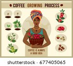 african woman is a coffee... | Shutterstock .eps vector #677405065