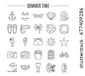 vector summer holidays icon set ... | Shutterstock .eps vector #677409286