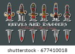 vector knives and daggers... | Shutterstock .eps vector #677410018